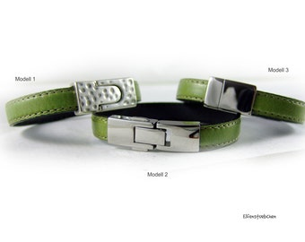 Green bracelet mens womens  leather bracelet silver - gift for him - for her - for couples - for best friend xmas wife girl friend Greenery