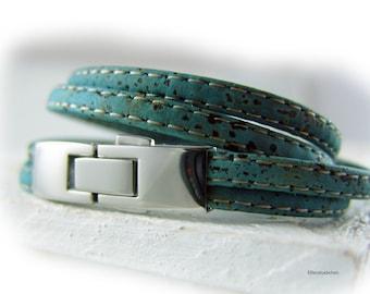 Mens womens cork wrap bracelet vegan light petrol blue silver  - gift for him her husband boyfriend wife best friend girlfriend dad