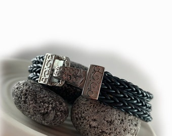 Womens braided leather bracelet dark petrol blue stainless steel magnetic clasp -  gift for her wife girlfriend mother sister
