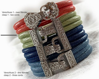 Womens leather bracelet - color and clasp choice - stainless steel magnetic clap clasp -  womens bracelet - gift for her wife mother sister