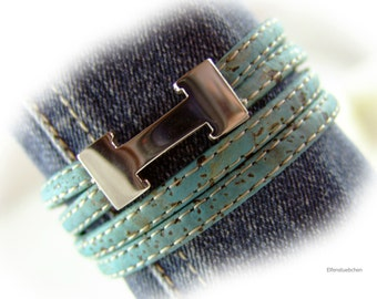 Womens cork leather wrap bracelet stainless steel magnetic clasp blue silver vegan - gift for her women wife girlfriend mother easter