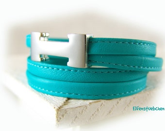 Wrap bracelet leather bracelet women turquoise stainless steel magnetic clasp silver -  choose your color women's bracelet leather