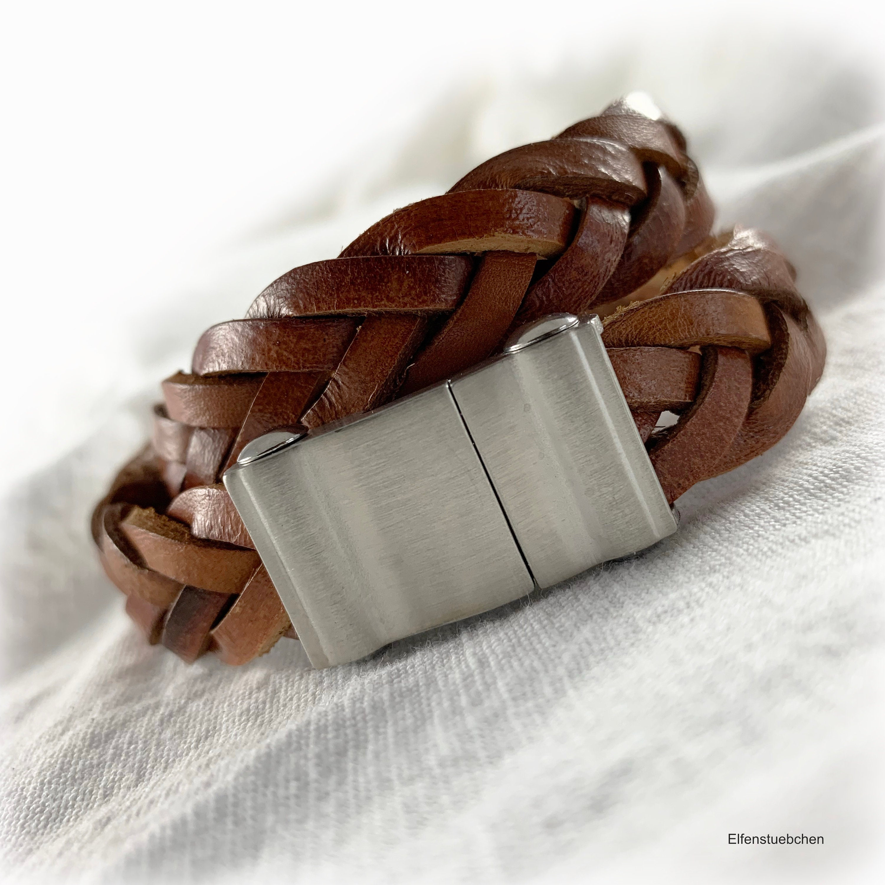 7537636dc1454 Men's braided leather wrap bracelet brown silver stainless steel brushed -  gift for best friend couples boyfriend brother dad