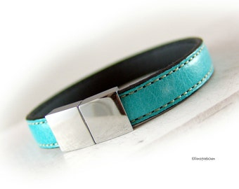 Womens turquoise leather bracelet  silver stainless steel  - gift for her girlfriend best friend sister wife mother xmas
