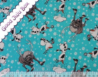 a8ec29f2f11 Jersey-Frozen-the ice queen-Olaf and Sven--cotton jersey-children s  fabric-blue