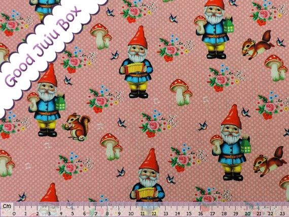 Tissu de coton - nains de jardin - GNOME - Zwerfe - GNOME joyeux ...