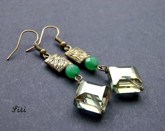 Earrings bronze crystal diamond earrings