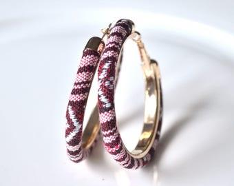 Red fabric hoop earrings