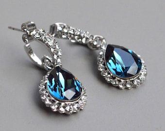 Earrings blue drop crystal