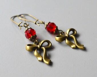 Earrings pearl red bow