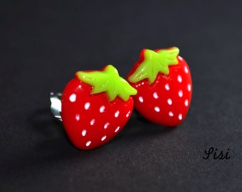 Earrings red strawberry on clip