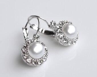 Earrings pearl crystal