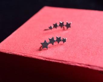 Earrings silver star pin