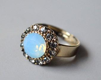 Blue opal crystal ring
