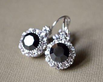 Earrings gray crystal