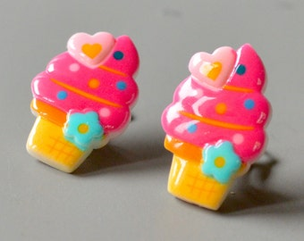 Earrings pink ice cream on clip