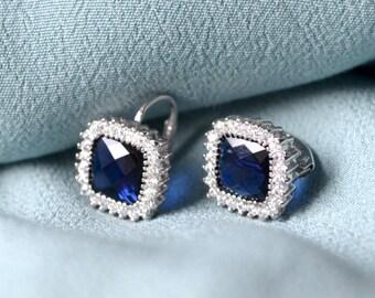 Blue silver sterling earrings