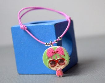 Bracelet girl pink cord