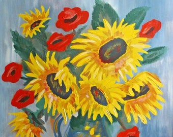 Picture acrylic oil Painting Sunflower XXL 89 x 77 cm 70s 80s 70s 80s modern flowers