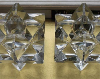 2 Crystal Candle Holder candle stand star comet 70s 70s Christmas decoration
