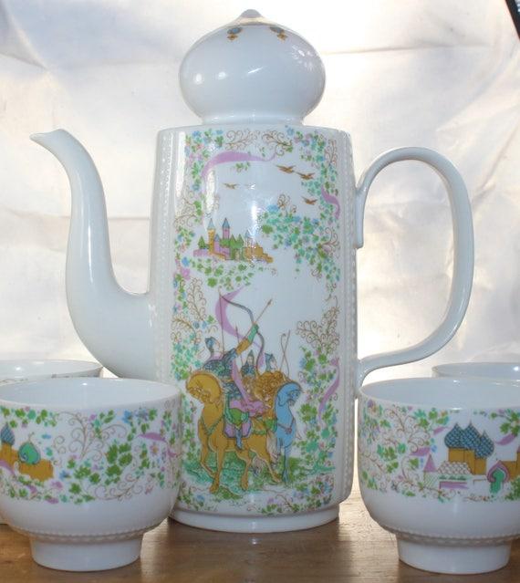 Service de café pour 4 personnes, Reichenbach, République démocratique allemande RDA 70 s 70 s nostalgie oignon russe dômes de conte de fées