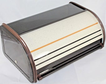 Bread box made of tin 70s 80s brown vintage