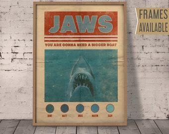 JAWS POSTER Classic Movie Prints Jaws Alternative Film Poster Nostalgia Retro Quote Wall Art Home Decor Prints Jaws Gift  / Frames Available