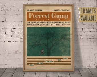 FORREST GUMP Movie  Poster ***Frames Available*** Alternative Film Poster Movie Quotes Retro Wall Art Print  Gift For Her , Gift For Him