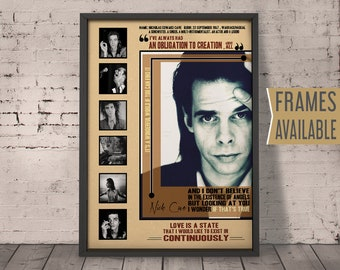 df0b7f4321 NICK CAVE Poster Music Lyric Song Quote Art Print Typography Music Poster  Retro Home Decor Wall Art Gift For Him Her   Frames Available