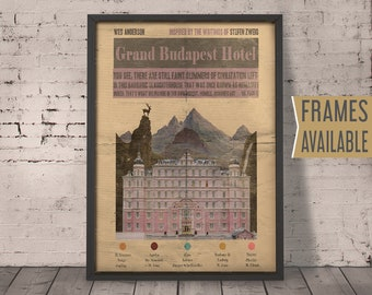 Grand Budapest Hotel Poster ***Frames Available*** Alternative Movie Poster * Movie Quote Art Print
