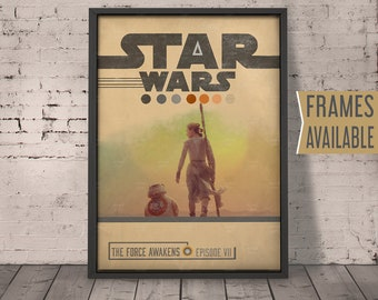 STAR WARS The Force Awakens Episode VII  Movie Poster ***Frames Available*** Minimal Design Wall Art Print* Gift For Him , Gift For Her