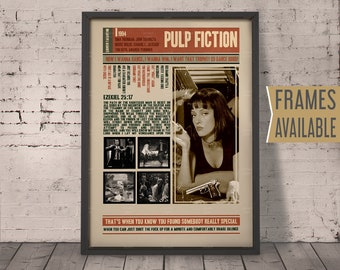 PULP FICTION Movie Poster ***Frames Available*** Quentin Tarantino Film Quotes Retro Vintage Wall Art Print *  Gift For Him , Gift For Her