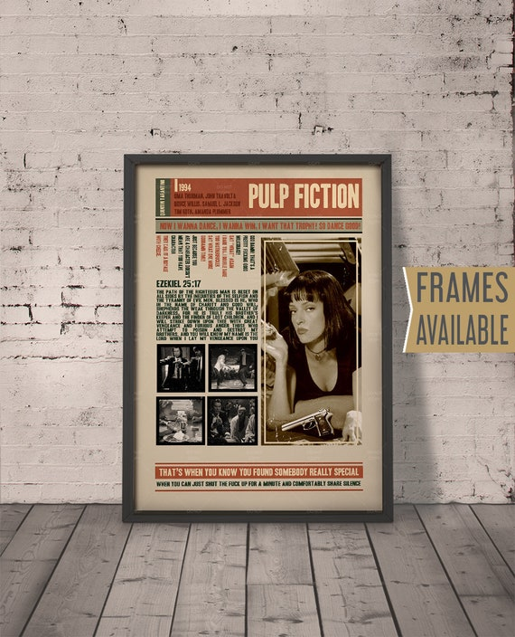 Pulp Fiction Movie Poster Frames Available Quentin Etsy