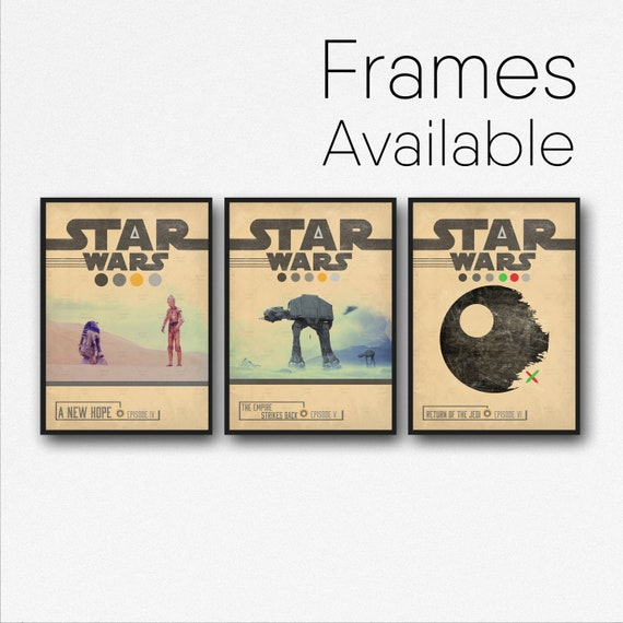 STAR WARS Poster Episode 4 5 6 Movie Poster Set, Retro Vintage Minimal Design Wall Art Print, Frames Available, Fathers Day Gift