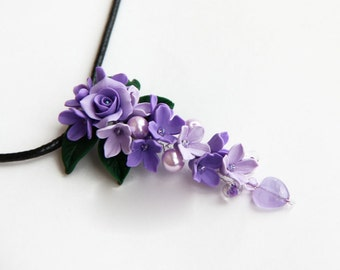 Purple Pendant Purple necklace Violet necklace Flowers necklace Lilac flower jewelry Lilac pendant Purple wedding necklace gift for her