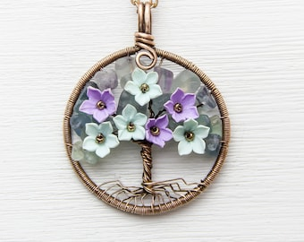 Family Tree Fluorite Tree-of-life necklace Wire wrapped pendant Tree-Of-Life Jewelry Copper wire Pendant Copper jewelry wire necklace Amulet