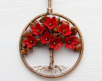 """Beauty gift Tree-Of-Life Necklace Pendant 1.8"""" Copper Wire Wrapped Pendant Wired Copper Jewelry Wire Wrapped ModernTree Red Necklace JF27"""