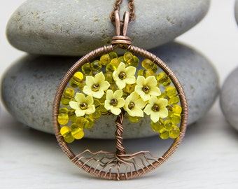 Tree-Of-Life Necklace Tree Of Life Pendant Copper jewelry Wire Wrapped Pendant Wire Wrap Copper Jewelry Tree necklace Yellow necklace  JF04