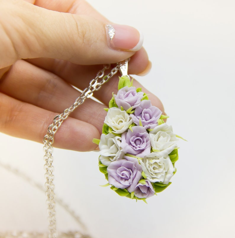 White Flower Roses Pendant Bridal Necklace Wedding Necklace Pendant Polymer Clay