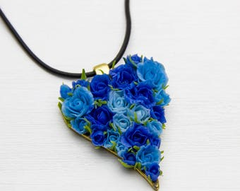Valentines Day Gift For Her Heart Necklace Blue roses Legend of Zelda Floral Pendant Gift for women Heart pendant Roses polymer clay