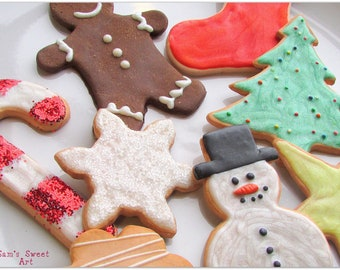 Fake Christmas Cookies Faux Cookies for Santa Vintage Home for the Holidays Display Decor Bakery Sugar Cookie Cut Outs Food Ornaments Milk