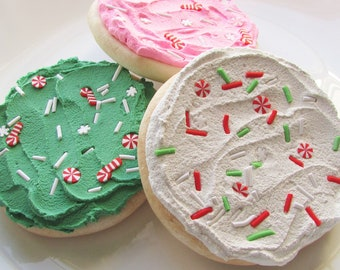 Christmas Fake Sugar Cookies For Display Faux Cookie Food Prop Bakery Decor Photo Shoot Staging Home Decor Cookie Buttercream Sprinkles