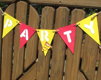 Pizza Party Banner, Pizza Party Cake Topper, Pizza Party, Pizza Birthday, Pizza Bunting, Pizza Lovers Party, Pizza Party Decor, Pizza Party