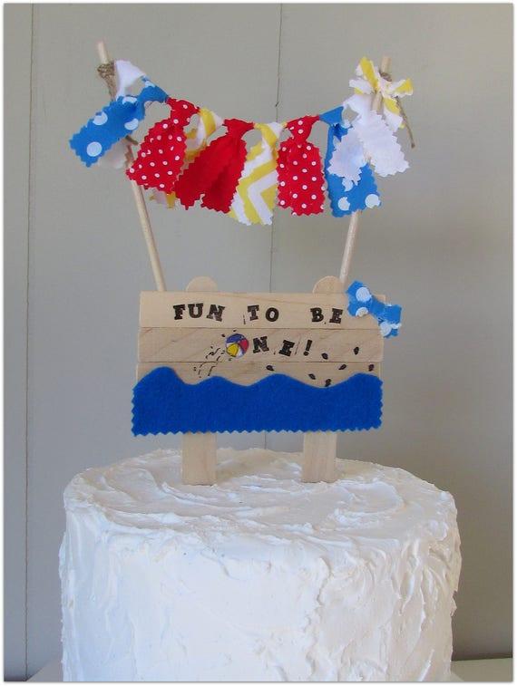 Incredible Beach Ball Cake Topper Fun To Be One Birthday Summer Etsy Birthday Cards Printable Benkemecafe Filternl