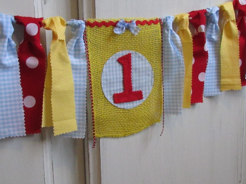 Blue Gingham Birthday Banner Red Blue Yellow High Chair Garland First Birthday Photo Prop Ruby Red Cake Smash Highchair Picnic Primary Color