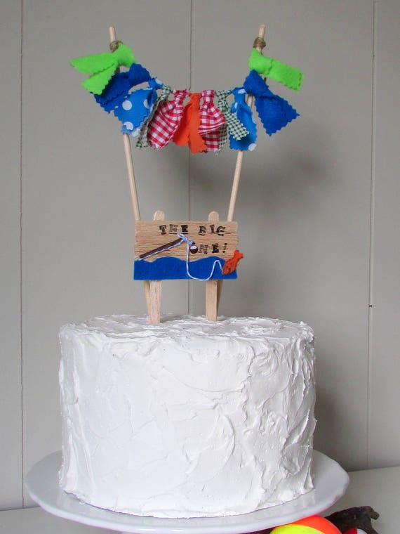 Magnificent Fishing Cake Topper The Big One Little Fisherman Birthday Etsy Funny Birthday Cards Online Alyptdamsfinfo