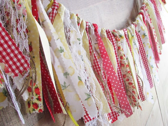 Strawberry Lemonade Rag Tie Fabric Banner Farmhouse Berry Lemon Kitchen Decor Shabby Vintage Yellow Red Curtain Accent Lace Twine By Samantha S Sweets Catch My Party