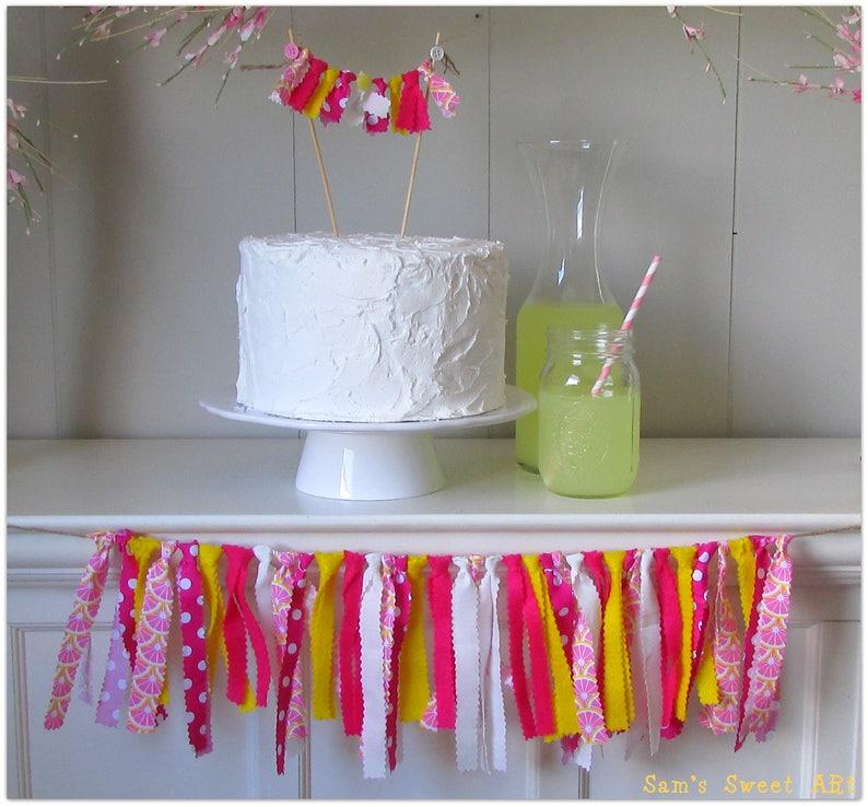 Lemonade Theme Lemonade Party Decoration Lemonade Baby Shower Lemonade Rag Tie Garland Lemonade Garland,Pink Lemonade Lemonade Birthday
