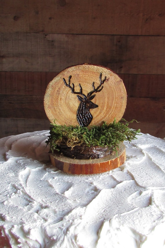 Wondrous Deer Cake Topper Buck Cake Topper Rustic Hunting Cake Topper Personalised Birthday Cards Veneteletsinfo