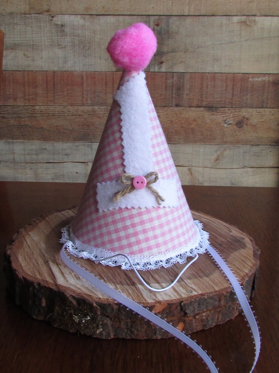 Tremendous Pink Gingham Party Hat Pink And White Gingham Hat First Birthday Funny Birthday Cards Online Inifodamsfinfo